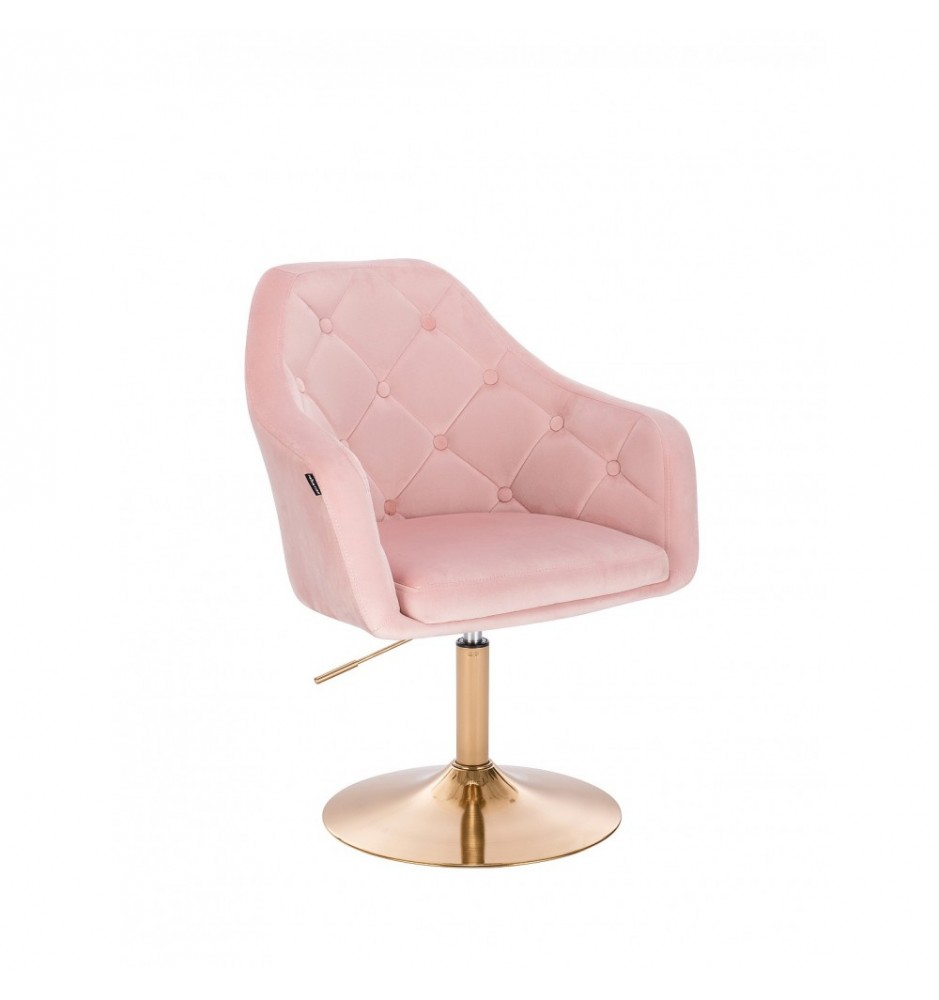 Kundstol Väntplats NICE rosa med guldbas