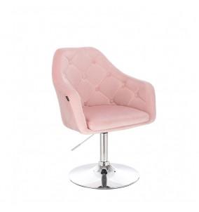 Kundstol Väntplats NICE rosa med chrombas