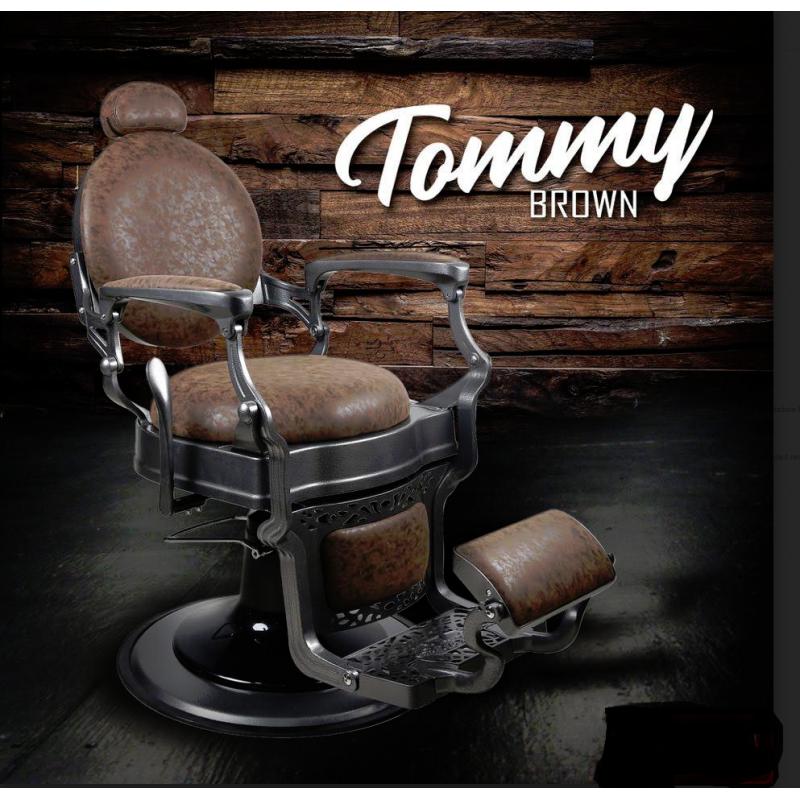 Barberarstol TOMMY i brun